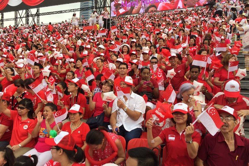 The stands are packed at the Padang. ST PHOTO: DESMOND FOO