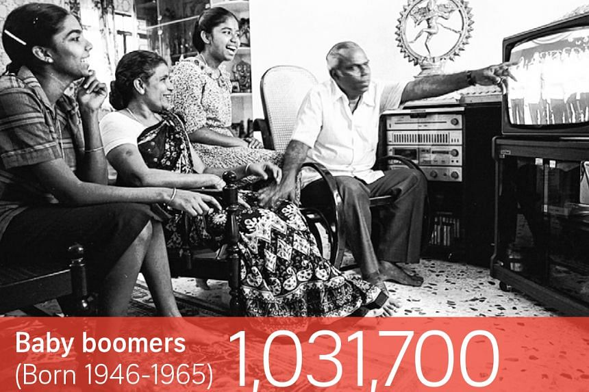The family of Sergeant Karthigesan, who was the right-marker in the commando contingent, watching the 1985 National Day Parade on television.