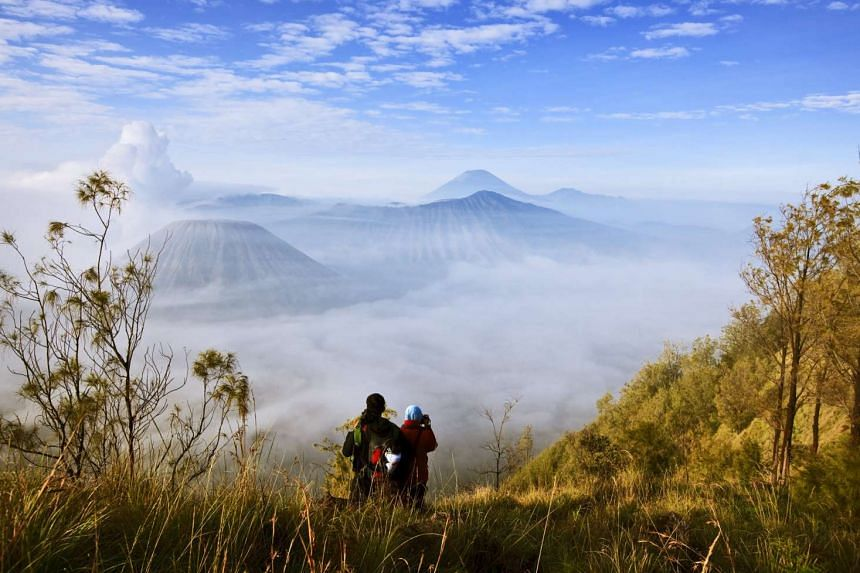 The most popular way to experience Mount Bromo is to watch the sun rise over its caldera from nearby Mount Penanjakan.