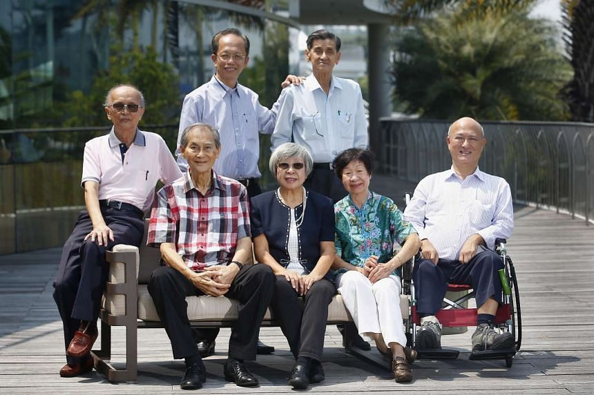 Some members of the 1980s mathematics project team got together recently. They are (seated, from left): Liang Hin Hoon, 81; Sin Kwai Meng, 79; Teh Hong Khuan, 74; Loh Geok Chin, 77; Kho Tek Hong, 69; and (standing, from left): Loy Bon Pen, 70; Hector