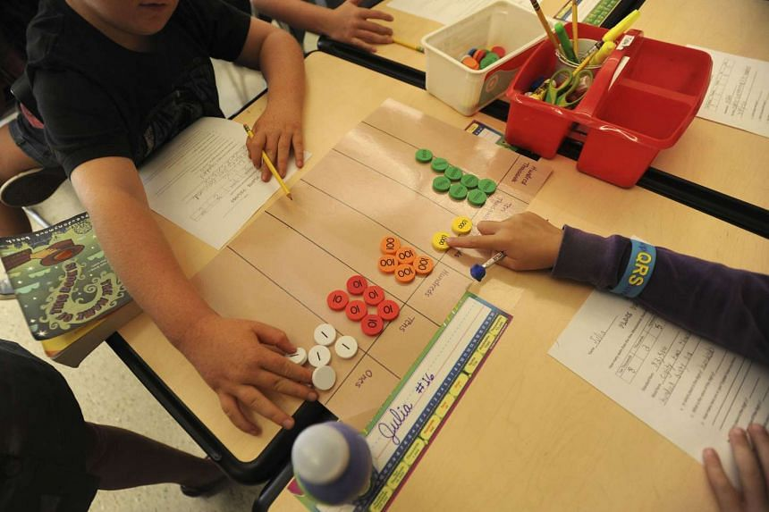 Above: Pupils at the Quaker Ridge School in Scarsdale, New York, are taught the Singapore maths methods which emphasise visual aids and a slow pace.