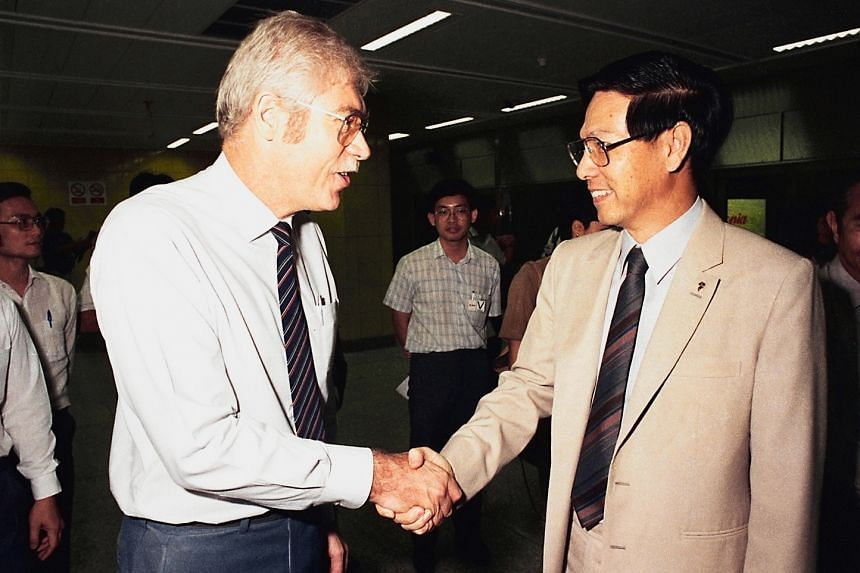 Mr Bruno Wildermuth (left), a Swiss national who is now a Singapore permanent resident, was instrumental in pushing for the MRT network in the 1970s. On the MRT's opening day, his contributions were recognised by Deputy Prime Minister Ong Teng Cheo