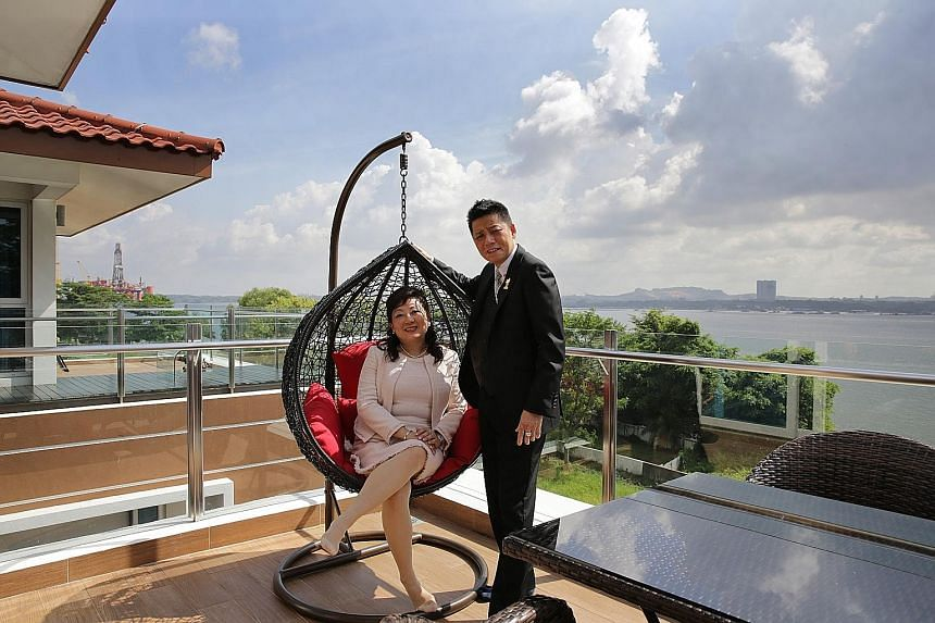 Mr David Yeo and his wife Annie Goh on the rooftop of their $6 million house in the Sembawang Park area. (Right, from top) a view of the exterior with lap pool; the interior; and the eight bungalows on 99-year lease which, according to ERA Real Estat