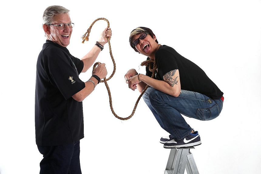 It is snark versus quip for DJs Mark Van Cuylenburg (far left) and Glenn Ong, who are co-hosts on the #1 Breakfast Show at ONE FM 91.3 radio station.