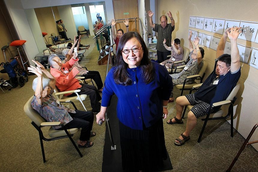 Dr Mary Ann Tsao with seniors undergoing physical rehabilitation exercises at the Tsao Foundation, a non-profit group established in 1993 which specialises in ageing issues.