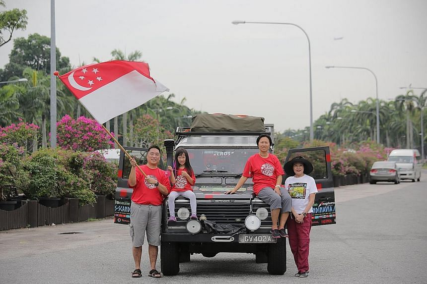 IT consultant Larry Leong, 47, may have missed the live telecast of the National Day Parade yesterday, but he is proudly bearing the Singapore flag in another way. 	He left Singapore yesterday morning for a road trip to London, which is about 20,000k