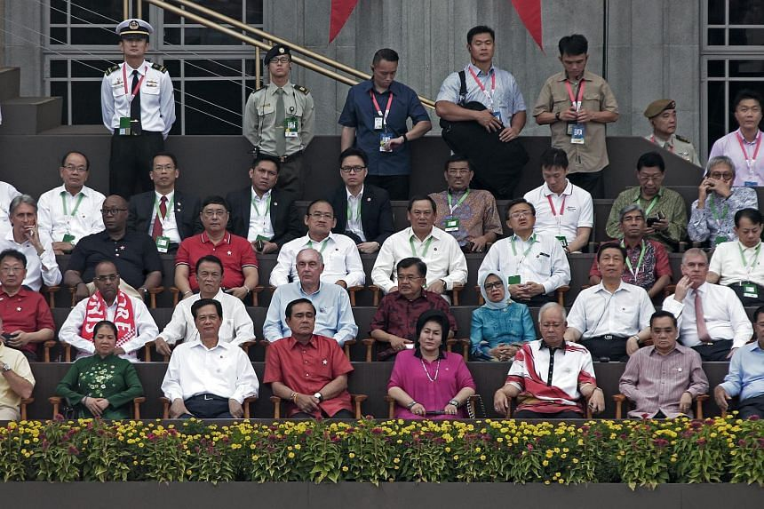 Foreign dignitaries in attendance during the National Day Parade in Singapore on Aug 9, 2015.