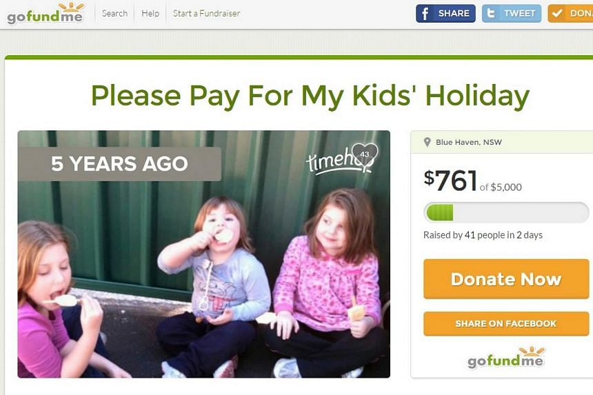 """The furore prompted father-of-three Stephen Callaghan to establish a Go Fund Me page, titled """"Please Pay For My Kids' Holiday"""", which is directed squarely at federal politicians."""