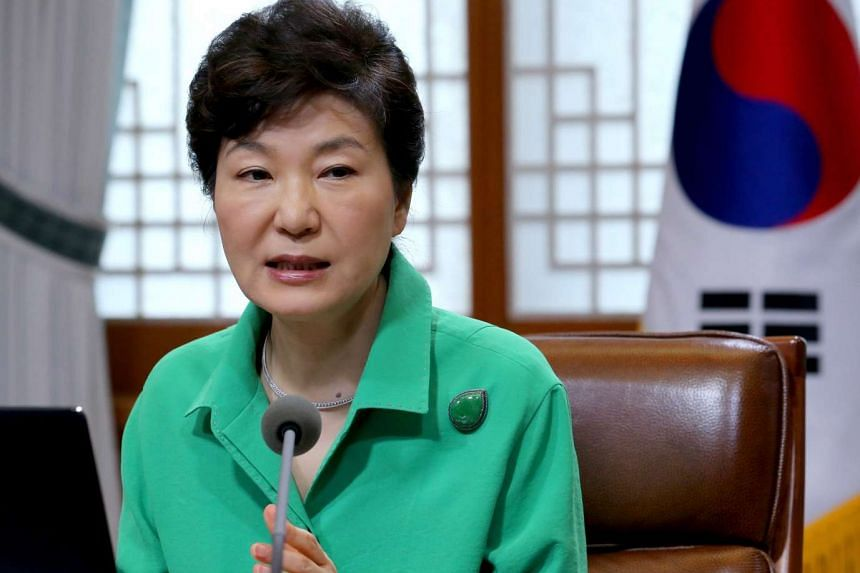 South Korean President Park Geun Hye speaks during a regular meeting with her top aides at the presidential office in Seoul, South Korea, on Aug 10, 2015.