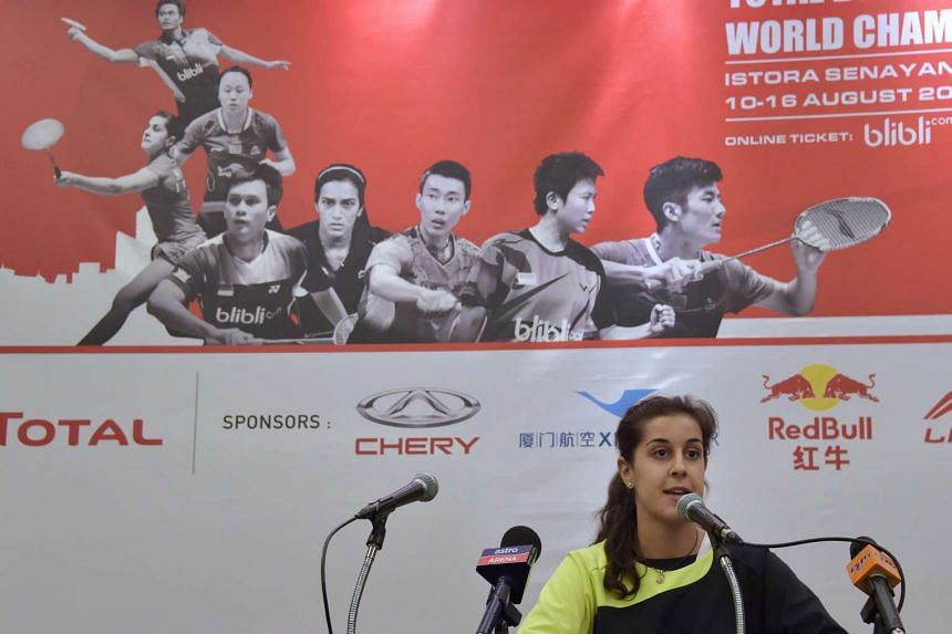 Carolina Marin of Spain speaks during a press conference in Jakarta on Aug 9, 2015 ahead of the 2015 BWF Badminton World Championships.
