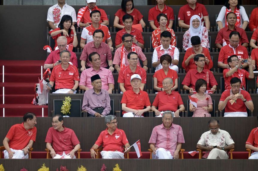 Next to Mr Lee's seat are People's Action Party stalwarts Mr Othman Wok, Mr Jek Yeun Thong and Mr Ong Pang Boon, the last three surviving Old Guard leaders who signed the official document that marked the independence of Singapore 50 years ago.