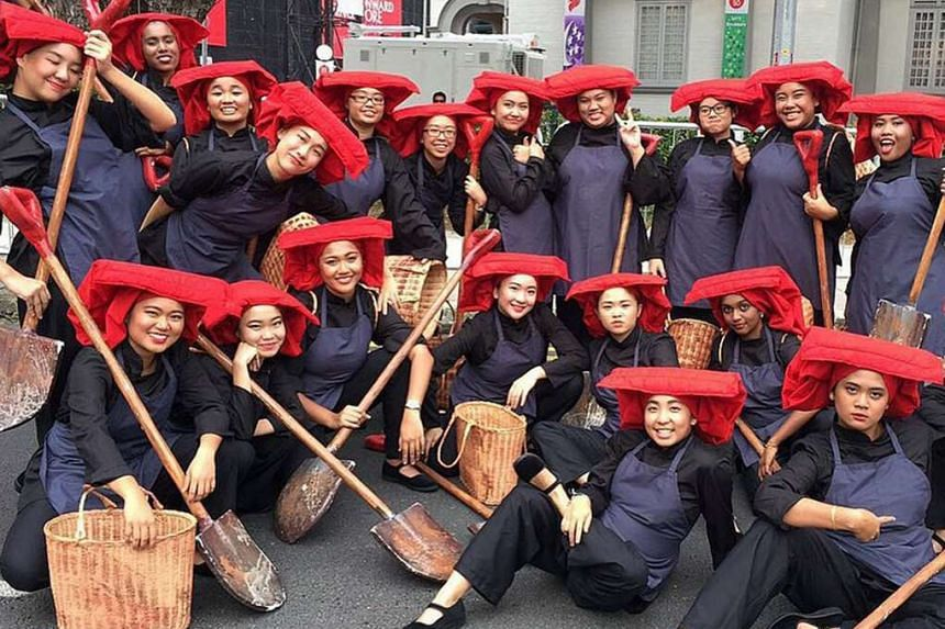 Performers from Republic Polytechnic re-enacted key moments in the island's history.