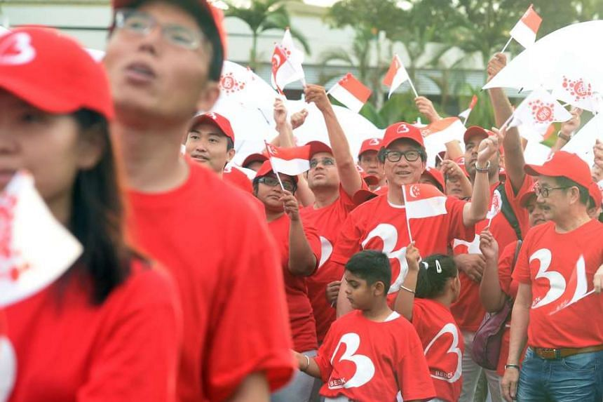 Manpower Minister Lim Swee Say at the National Day observance ceremony at Temasek Junior College yesterday.