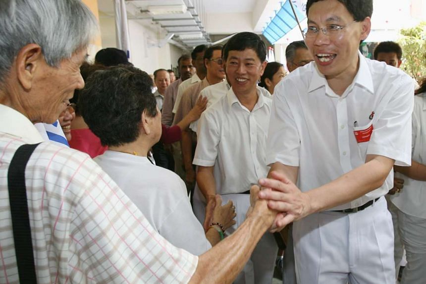 Lui Tuck Yew greeting his supporters after the PAP's walkover in Tanjong Pagar GRC, on April 27, 2006.