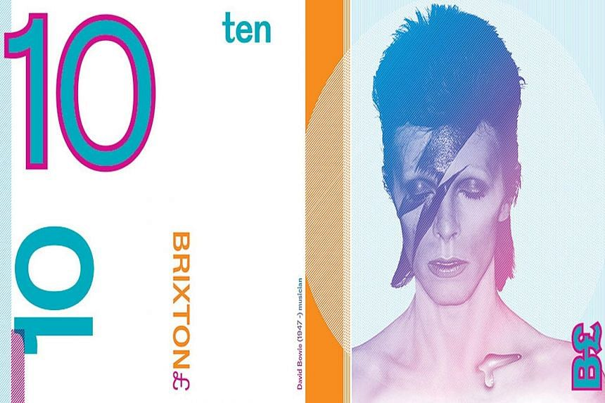 A psychedelic £5 note (top) designed by artist Jeremy Deller for the Brixton area of London, a £10 note (above left) featuring singer David Bowie and a colourful £20 note (above) for the city of Bristol.