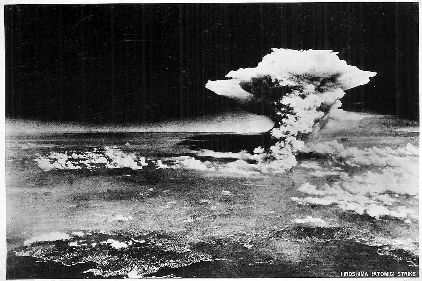 The mushroom cloud of the atomic bomb dropped by the US B-29 Enola Gay.