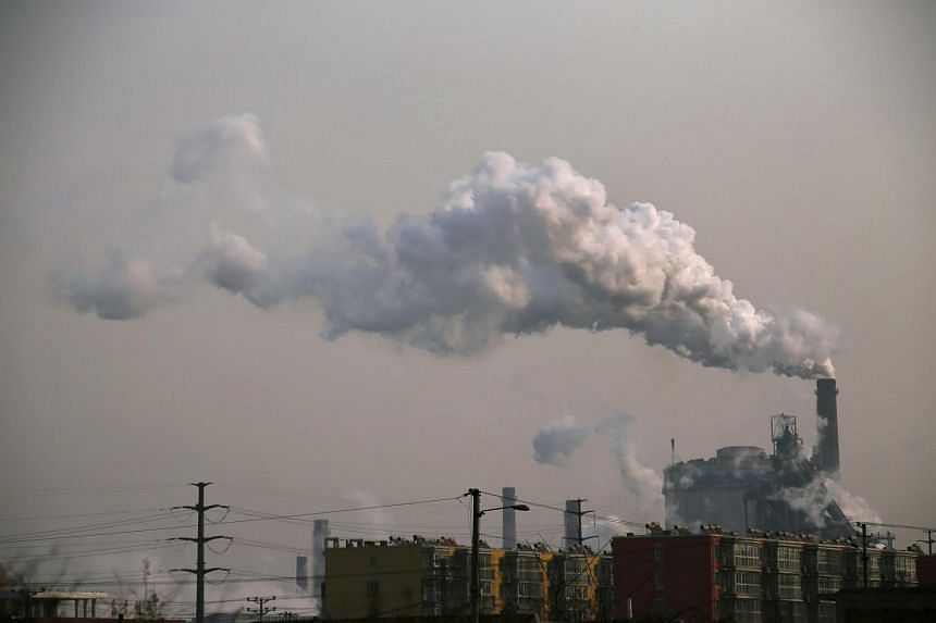 Smoke rising from a steel plant in China's Hebei province.