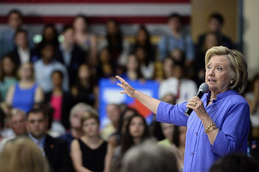 US presidential contender Hillary Clinton speaking during a town hall meeting in Nashua, New Hampshire, on Aug 10.