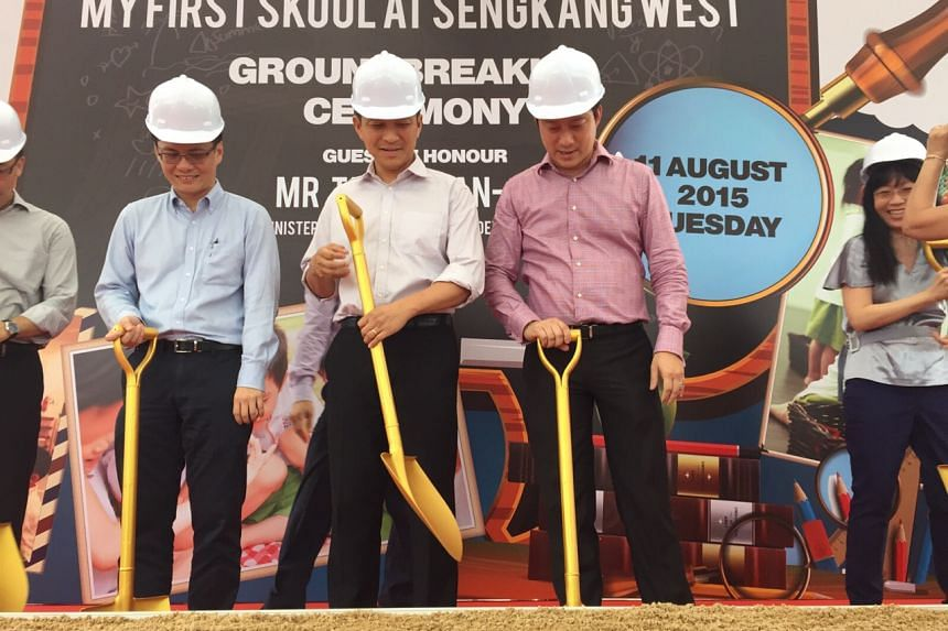 Mr Tan Chuan-Jin (centre) at the Groundbreaking of NTUC My First Skool childcare centre at Sengkang West on Aug 11, 2015.