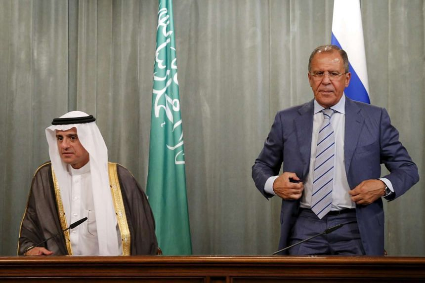 Russian Foreign Minister Sergei Lavrov (right) and Saudi Foreign Minister Adel al-Jubeir during a news conference on Aug 11, 2015.