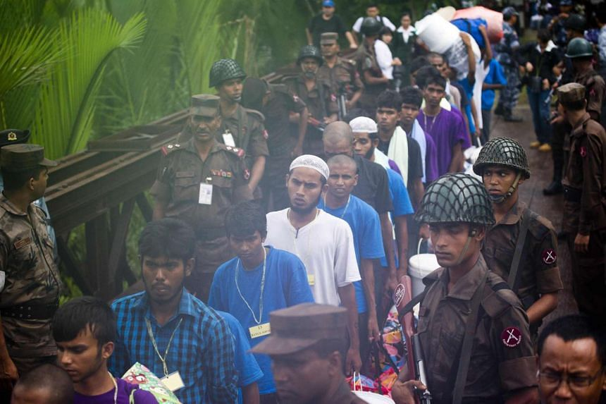 Migrants who were found at sea on a boat have been repatriated across the Myanmar-Bangladesh border in the Myanmar state of Rakhine.