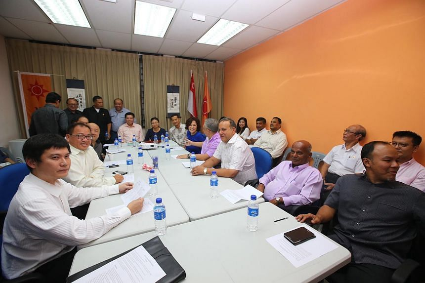 Members from the various opposition parties meeting to discuss their plans for the upcoming election at the National Solidarity Party's (NSP) headquarters in Jalan Besar.