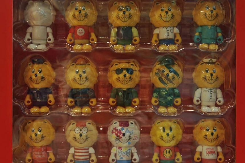 A box set of Singa figurines, sold at $300, at Kindness Gallery Old Hill Street Police Station on Aug 11, 2015.