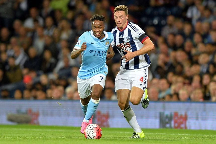 5 Manchester City's Raheem Sterling (left) vies for the ball with West Bromwich Albion's James Chester (right) during the English Premier League soccer match between West Bromwich Albion and Manchester City at The Hawthorns stadium in Birmingham, Bri