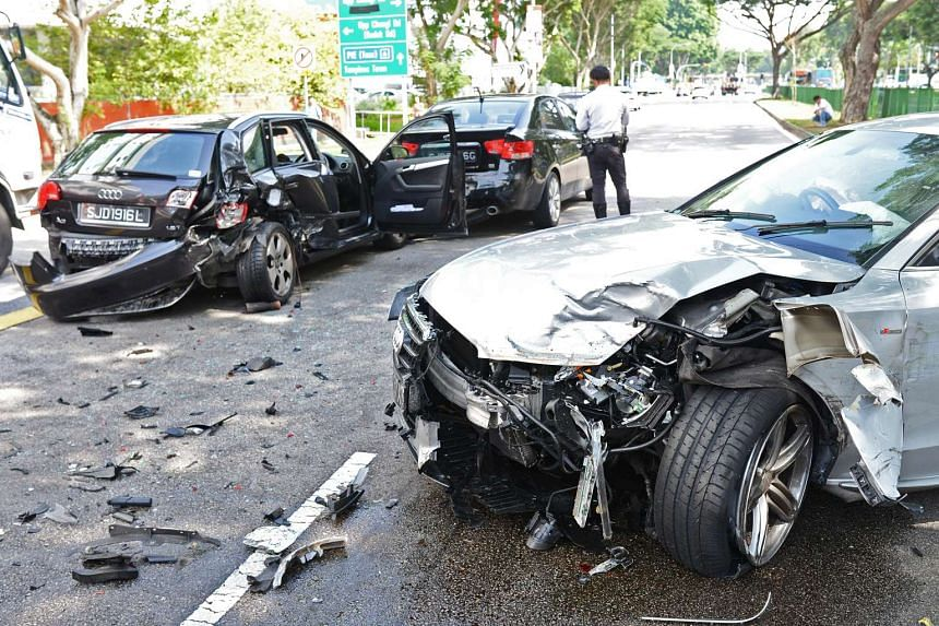 Eight vehicles were involved in an accident along Simei Avenue, near ITE College East on August 11, 2015.