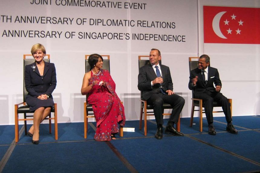 Group photo after Australian Prime Minister Tony Abbott and the Singapore High Commissioner gave the toasts to Singapore and Australia respectively. From left: Ms Julie Bishop (Australia's Foreign Minister), Mrs Zarina Gafoor (spouse of the Singapore