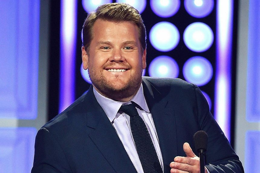 Unlike the boorish and obnoxious characters James Corden typically played in Britain, he is now an unassuming nice guy with his guests on the talk show.