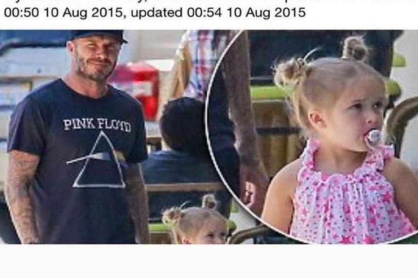 David Beckham posted the Daily Mail article on his daughter's use of a pacifier on his Instagram account.