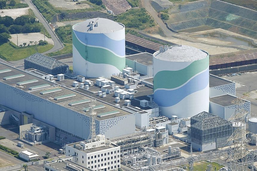 An aerial view of Kyushu Electric Power's Sendai nuclear power station located in Kagoshima prefecture, Japan.