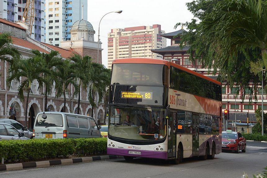 A double decker bus travelling along Tanjong Pagar road.
