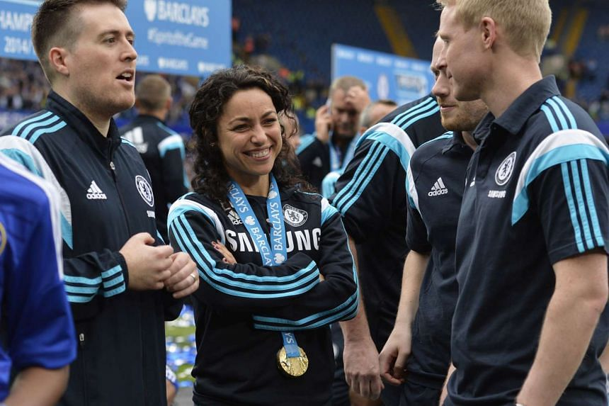 Chelsea first team doctor Eva Carneiro celebrating after the team won the Barclays Premier League.