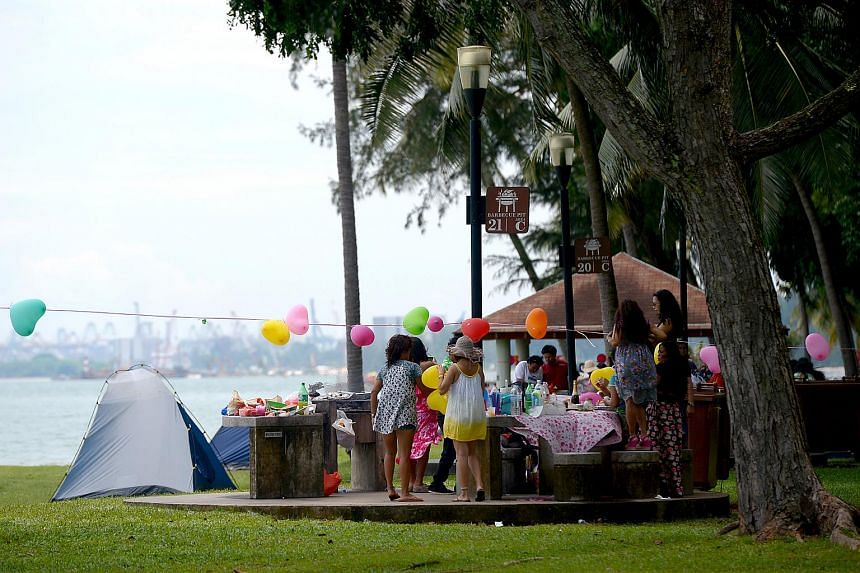 People camping at East Coast Park.