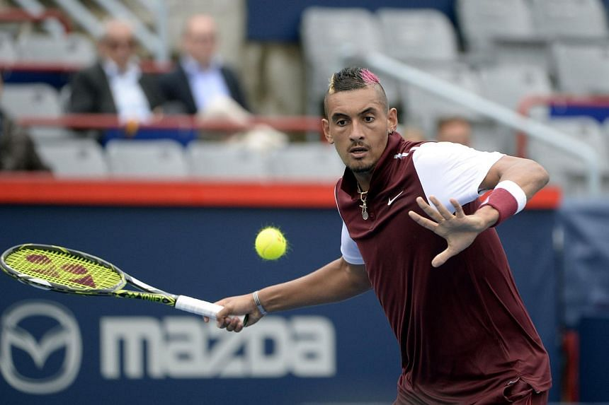 Nick Kyrgios of Australia hits the ball against Fernando Verdasco of Spain (not pictured) during the Rogers Cup tennis tournament at Uniprix Stadium.