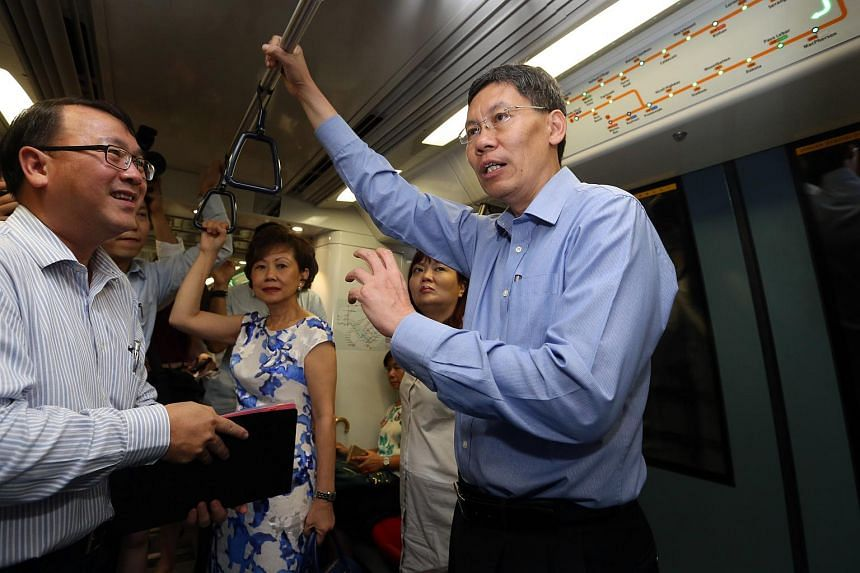 Transport Minister Lui Tuck Yew takes a ride on the Circle Line from Labrador Park to One-North MRT station.