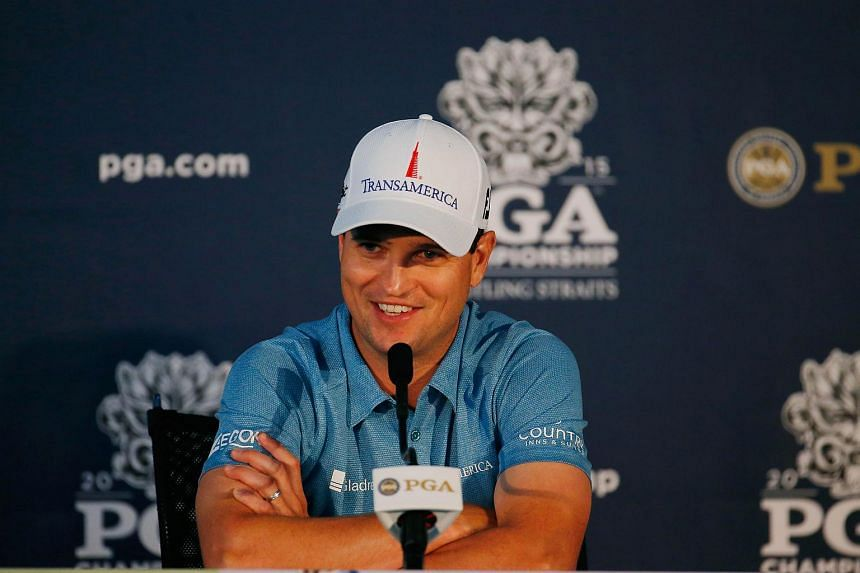 US golfer Zach Johnson speaking at a press conference on Aug 11.