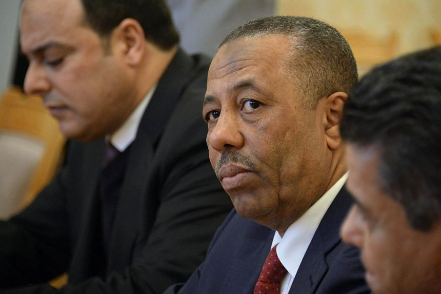 A file picture taken on April 15, 2015 shows Libyan Prime Minister Abdullah al-Thani attending a meeting with Russian Foreign Minister in Moscow.