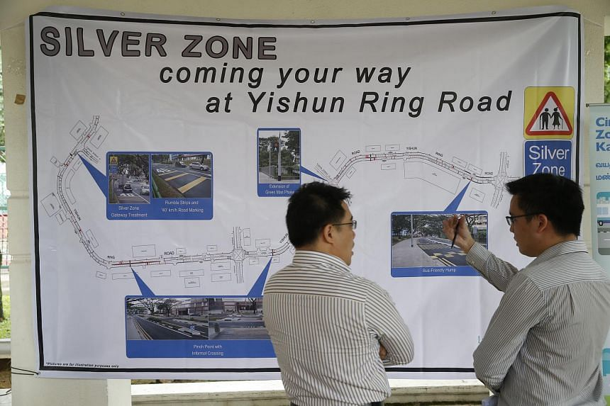 A map detailing Yishun Ring Road's Silver Zone site, which will be implemented as part of the Land Transport Authority's Silver Zone Programme.