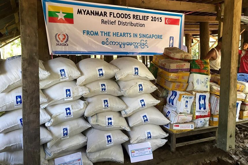 Singapore humanitarian group Mercy Relief has distributed more than 10 tonnes of food to flood-affected households in Myanmar's Rakhine State.