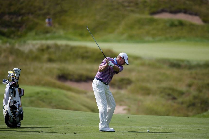 Steve Stricker of the United States hits a shot during a practice round prior to the 2015 PGA Championship at Whistling Straits on Aug11, 2015 in Sheboygan, Wisconsin.