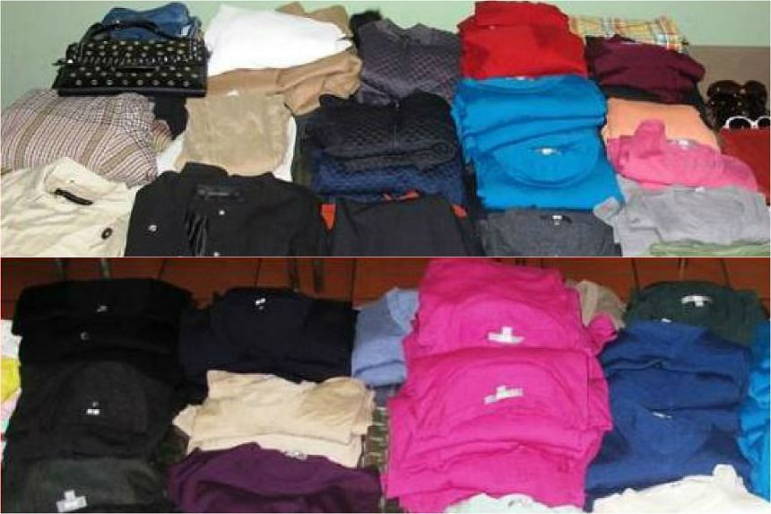 Police said on Tuesday that more than 400 items were stolen - including branded jackets, cardigans, dresses and trousers - worth more than $20,000 in total.