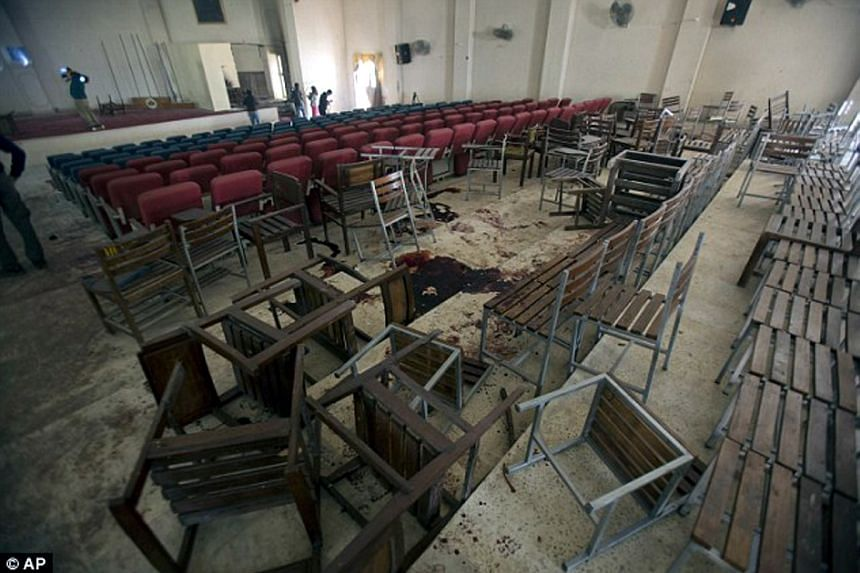 The school hall of the Army Public School in Peshawar, where many students were killed by Taleban gunmen, in the aftermath of the attack on Dec 16, 2014.