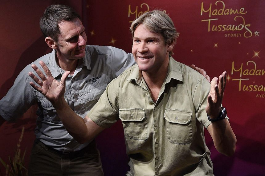 Australia Zoo director Wes Mannion (left), next to a wax figure of Crocodile Hunter Steve Irwin at Madame Tussauds in Sydney yesterday. Irwin, who died nine years ago after he was pierced in the chest by a stingray barb, was known for his exuberant p