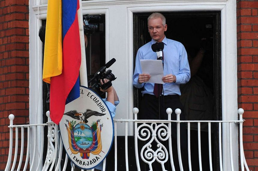 Assange on the balcony of the Ecuadorian Embassy in London in 2012.