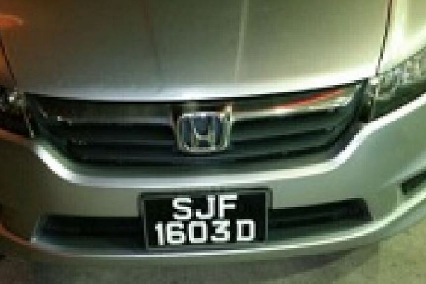 Mr Sathiamoorthy's Honda Stream, which was stolen outside Perling Mall in Johor Baru on Aug 8.