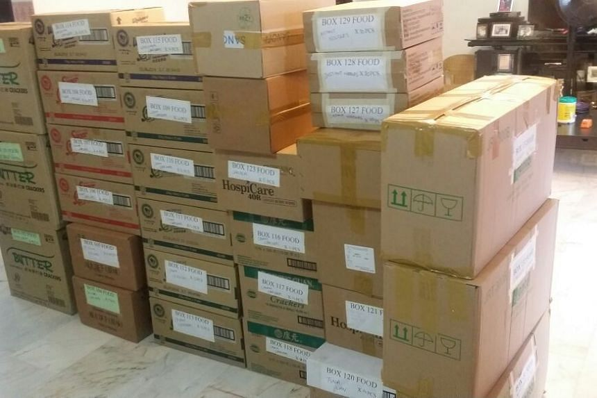 Supplies, collected by ERA Singapore, packaged and ready to be shipped to Myanmar.