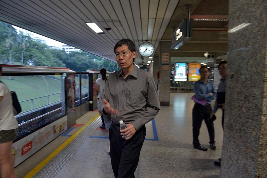 Transport minister Lui Tuck Yew at Ang Mo Kio MRT station.